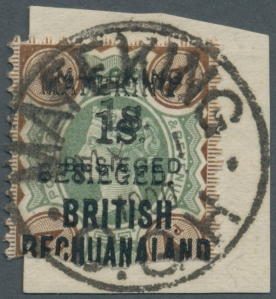 Mafeking 1s on 4d Green and Brown double overprint (serif and sans serif)