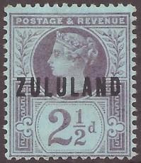 Zululand 2 1-2d purple on blue