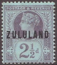 Zululand 2 1-2d purple on blue