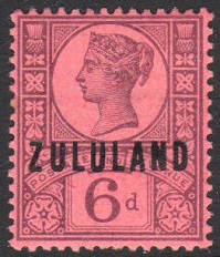 Zululand 6d purple on rose