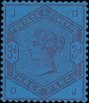 1883-84 3d Colour Trial on Blue Paper