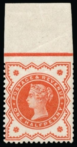 1887 Jubilee 1-2d vermilion imperforate at top
