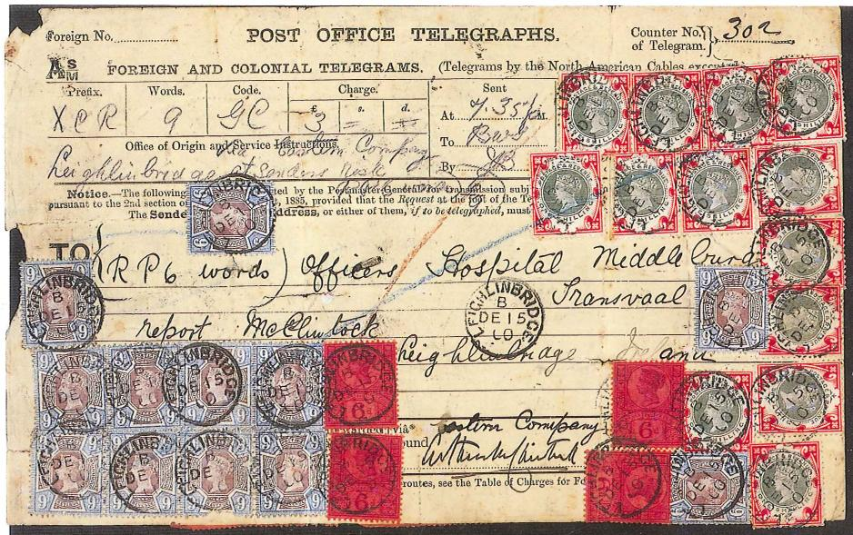 Telegram from Ireland to Transvaal