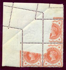1887 1-2d vermilion jubilee printing fold error