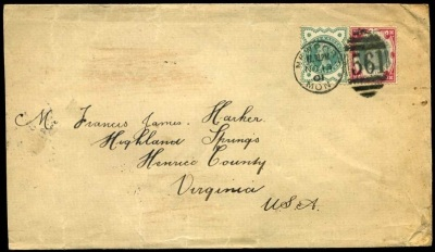 1900 1s green and 1-2d green Jubilees on cover