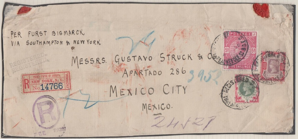 1900 1s Green and Carmine on cover to Mexico