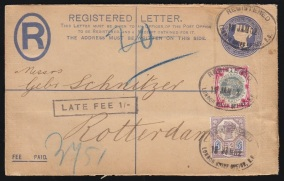 1900 1s green and carmine on cover
