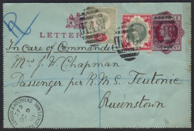 1900 1s green & carmine SG 214, cancelled K48 London & Holyhead TPO