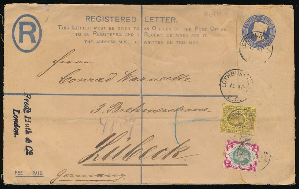 1900 SG214 1s Green and Carmine Jubilee on cover
