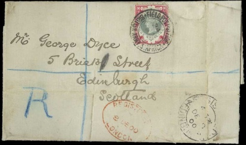 1s Green and Carmine on cover from Boer War