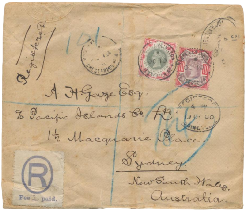 1s green and carmine on cover to Australia