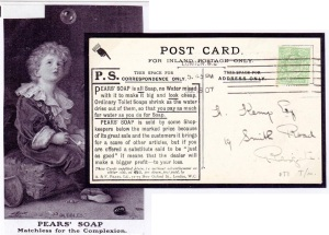 Pears' Soap perfin on a advertising postcard