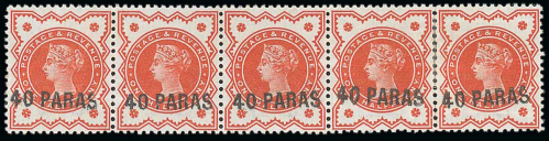 British Levant 40pa on 1-2d vermilion strip of five