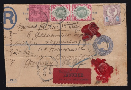 Insured registered cover with two 1s green and carmine Jubilees