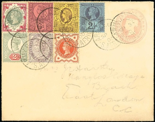 Philatelic franking from South Africa with 1s green and carmine