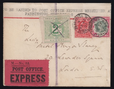 Railway express cover with 1s green and carmine