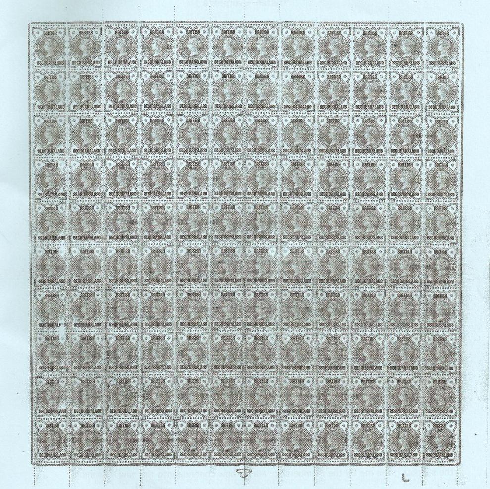 British Bechuanaland 1-2d vermilion half sheet
