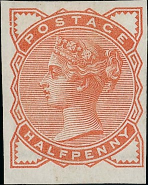 1884 1-2d orange colour trial imperf