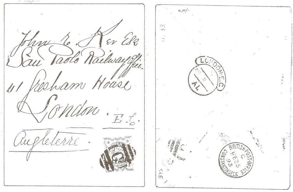 British Levant 1893 40pa Provisional on cover ii