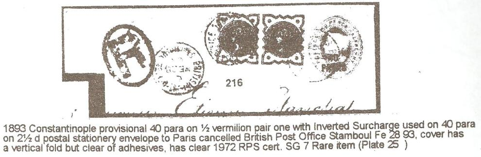 British Levant 1893 40pa Provisional on cover iii