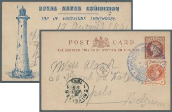 Royal Navy Exhibition card uprated with 1/2d Jubilee