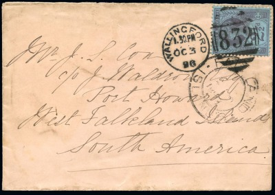 1887 Jubilee 2 1/2d on cover to Falkland Islands