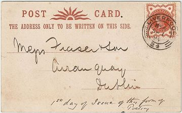 Postcard sent on September 1st 1894, the first day of use for private postcards