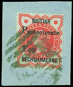 Bechuanaland 1889  4d on 0.5d vermilion with rpence omitted