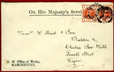 1902 GB.OFFICIALS OHMS OFFICE OF WORKS ENV.TO WIGAN