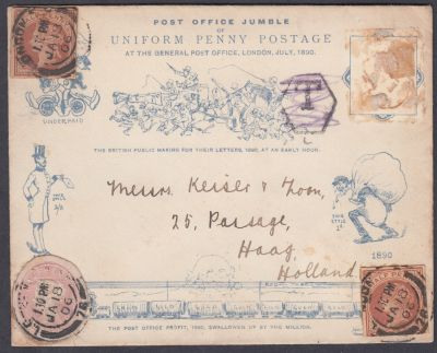 Harry Furniss 1890 Penny Post Jubilee caricature with postal stationery cut-outs
