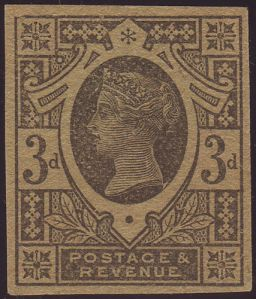 1887 3d purple on yellow plate proof