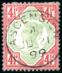 1892 4.5d Jubilee used in Ascension