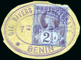 Oil Rivers Protectorate Benin cancel on 2.5d Jubilee