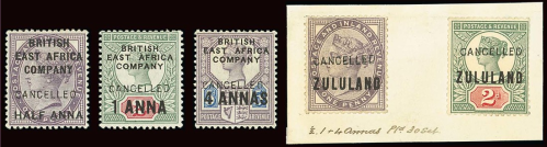 British East Africa Cancelled overprints on Jubilees