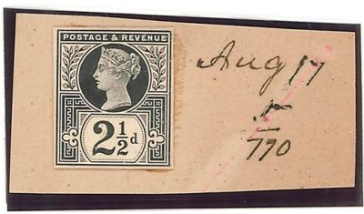 1887 2.5d de la rue striking book piece