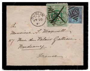Ireland Great Northern Railway Company 2d on cover from Dublin 313.88