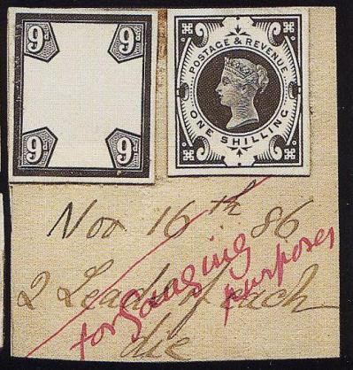 1887 1s green Striking Book Piece from De La Rue Archives