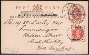 British Bechuanaland postal stationery card Vryburg
