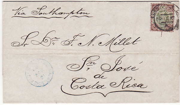 GB 1887 Jubilee cover to Costa Rica