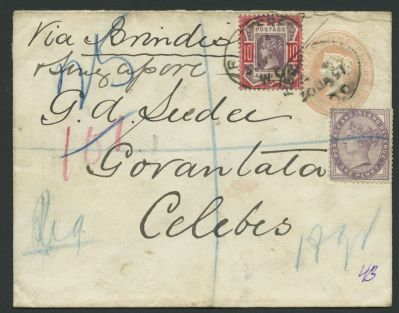 Jubilee cover sent to Celebes, Indonesia