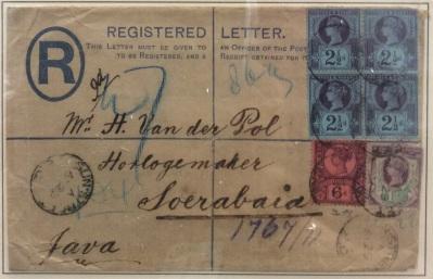 Registered cover to Soerabaja, Java