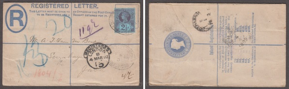 Registered envelope sent to Surabaya, Java