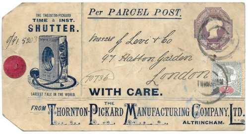 Thornton Pickard parcel label postal stationery uprated with 2d Jubilee