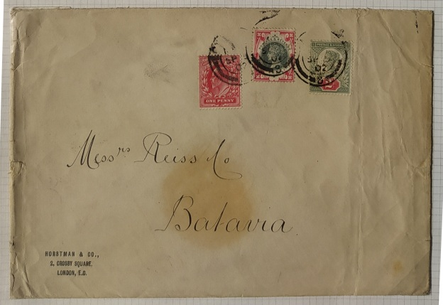 1900 1s green and carmine jubilee on cover to Batavia